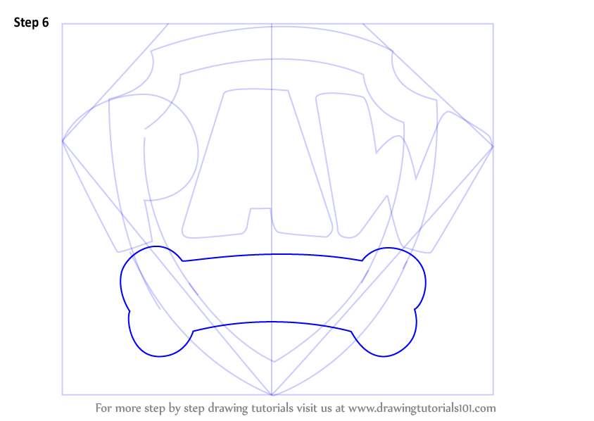 Learn How To Draw Paw Patrol Badge Paw Patrol Step By Step Drawing Tutorials