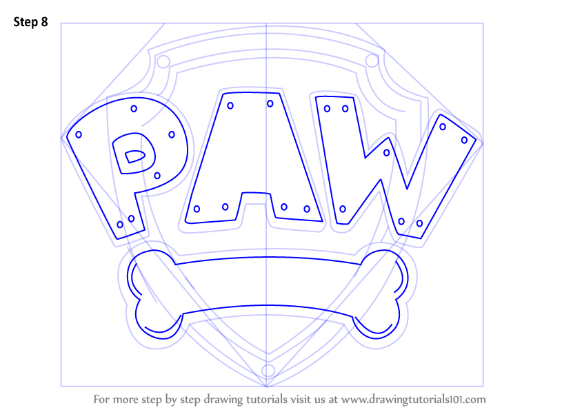 Step By Step How To Draw Paw Patrol Badge