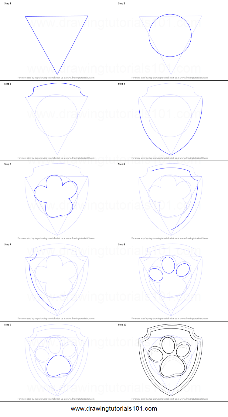 How To Draw Ryder Badge From Paw Patrol Printable Step By