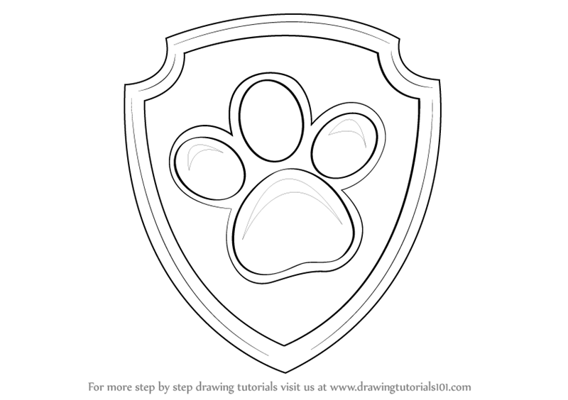 Paw Patrol Shield Coloring Pages : Learn how to draw ryder badge from paw patrol