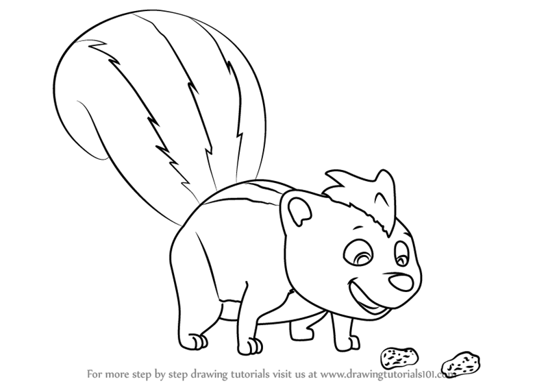Learn How To Draw Skunk From Paw Patrol Paw Patrol Step By Step
