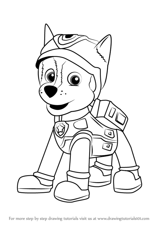 Step By Step How To Draw Super Spy Chase From Paw Patrol