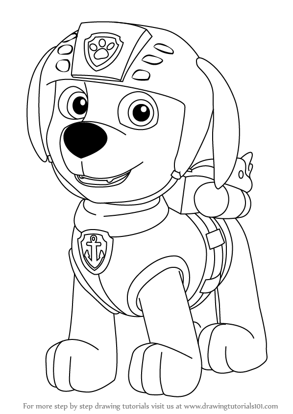 Step By Step How To Draw Zuma From Paw Patrol Drawingtutorials101 Com