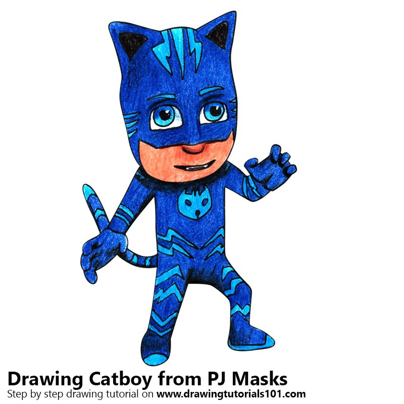 Catboy from PJ Masks Color Pencil Drawing