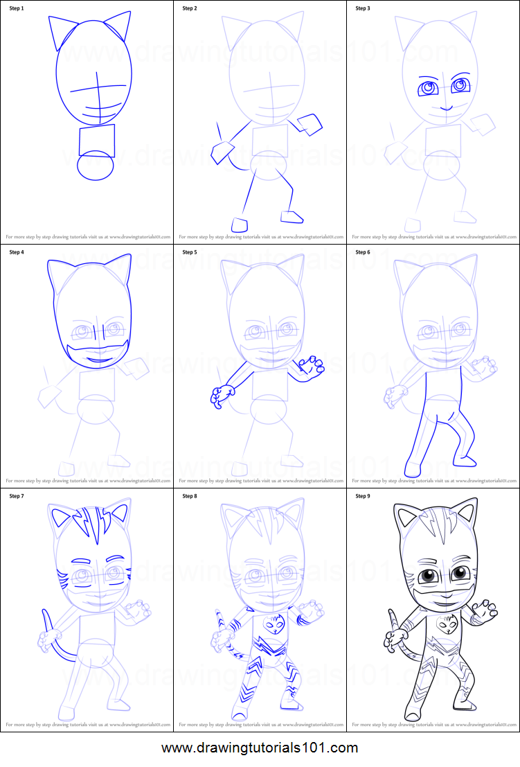 How to Draw Catboy from PJ Masks printable step by step ...