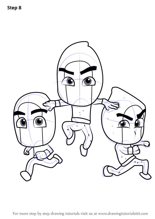 Learn How To Draw Ninjalinos From Pj Masks Pj Masks Step By Step