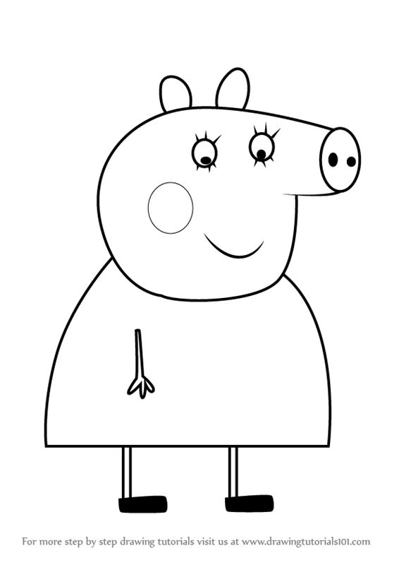 Learn How To Draw Aunty Pig From Peppa Step By Drawing Tutorials