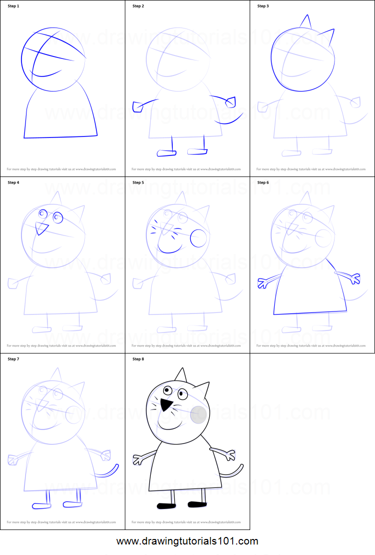 Uncategorized How To Draw Candy Step By Step how to draw candy cat from peppa pig printable step by pig