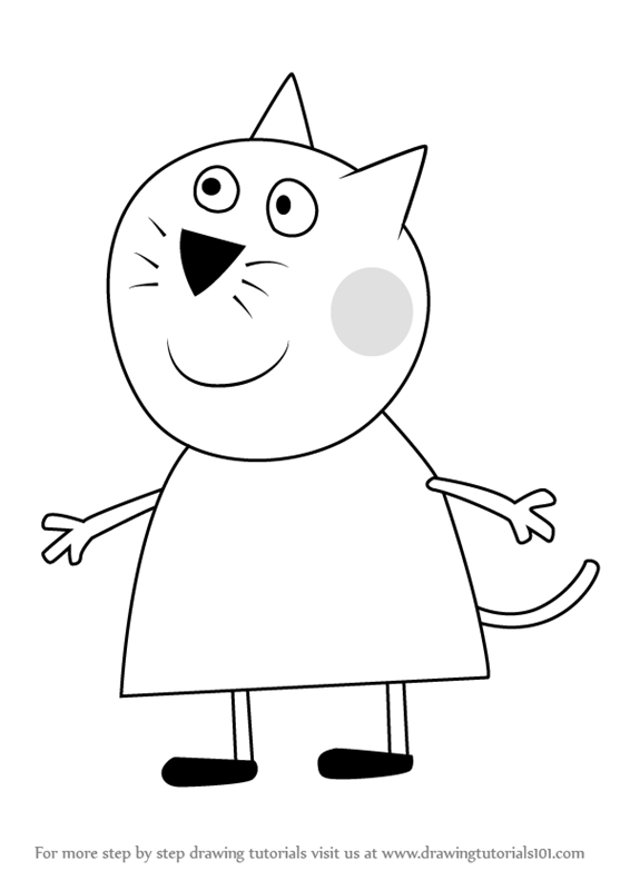 Learn How to Draw Candy Cat from Peppa Pig Peppa Pig Step by