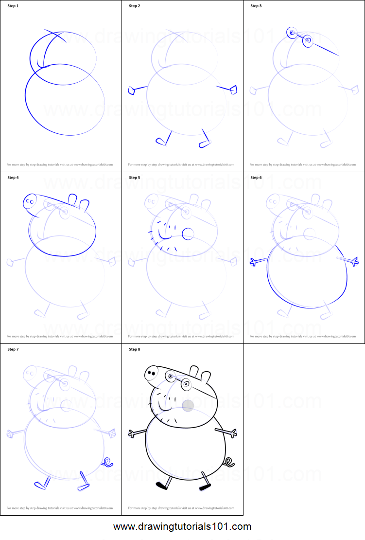 Step by step drawing tutorial on how to draw daddy pig from peppa pig