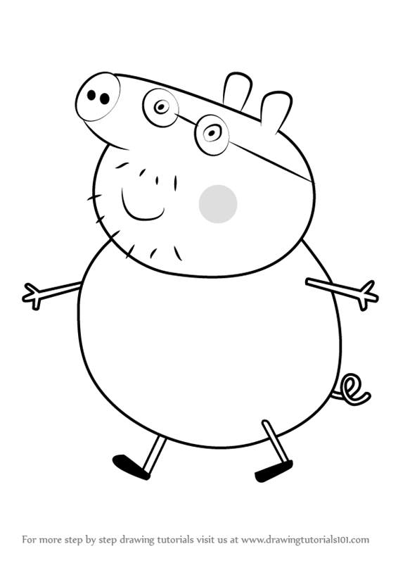 How to draw daddy pig from peppa pig