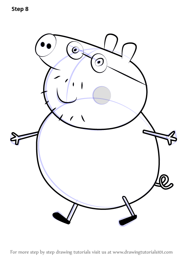 Step by step how to draw daddy pig from peppa pig for Peppa pig drawing templates