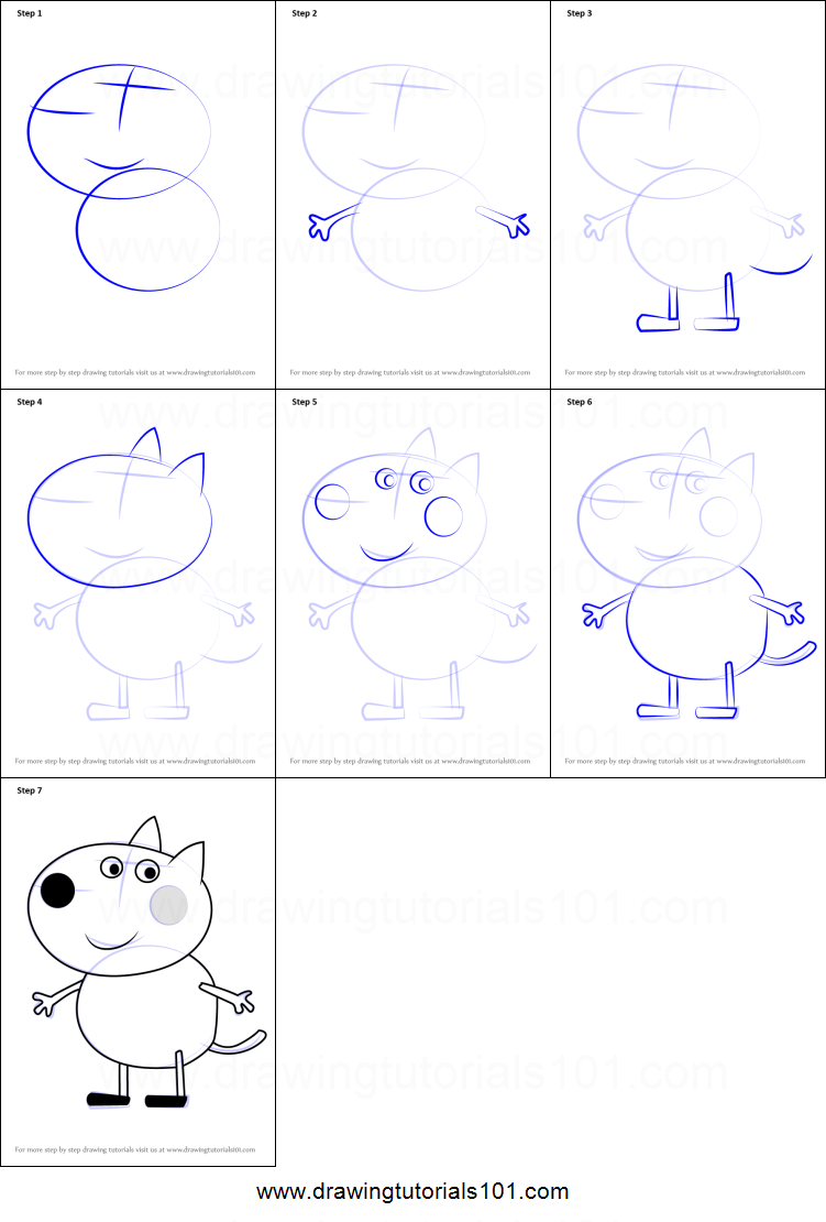 how to draw danny dog from peppa pig printable step by step