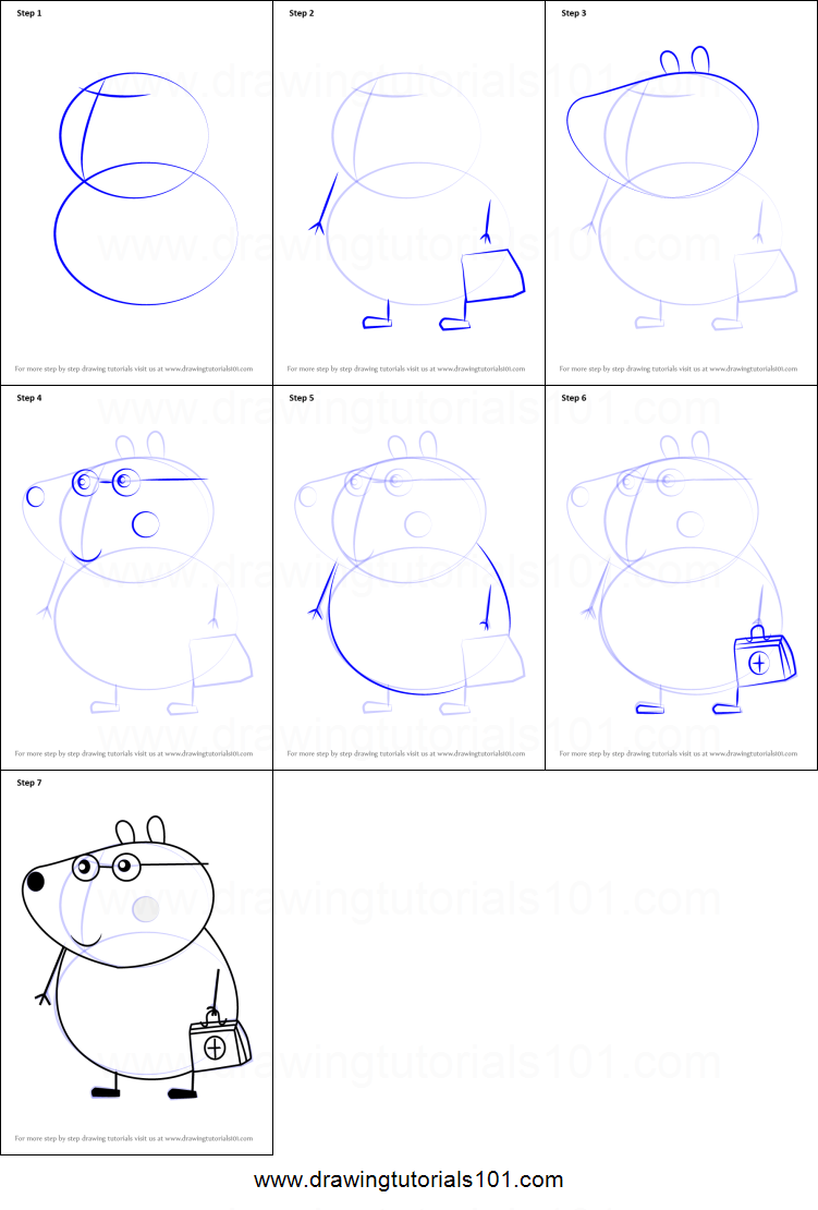 how to draw dr brown bear from peppa pig printable step by step
