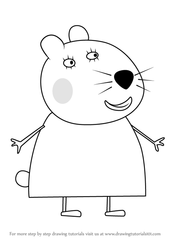 learn how to draw dr hamster the vet from peppa pig peppa pig step by step drawing tutorials