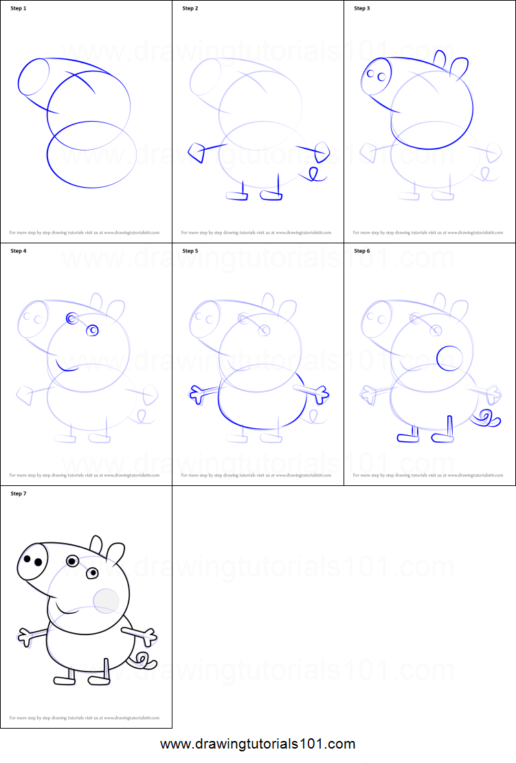 Step by step drawing tutorial on how to draw george pig from peppa pig