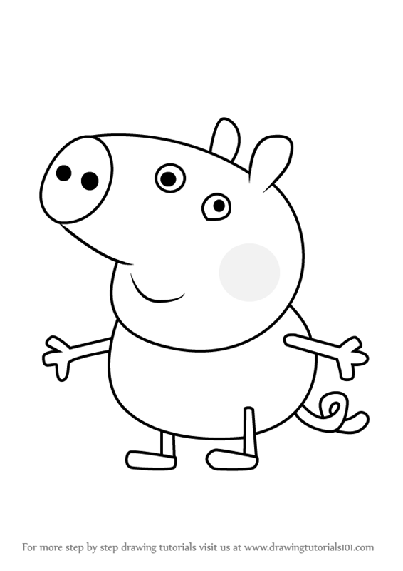 Learn how to draw george pig from peppa pig peppa pig step by step drawing tutorials