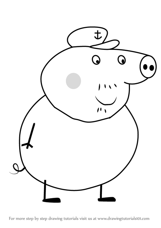 Learn How to Draw Grandpa Pig from Peppa Pig Peppa Pig Step by