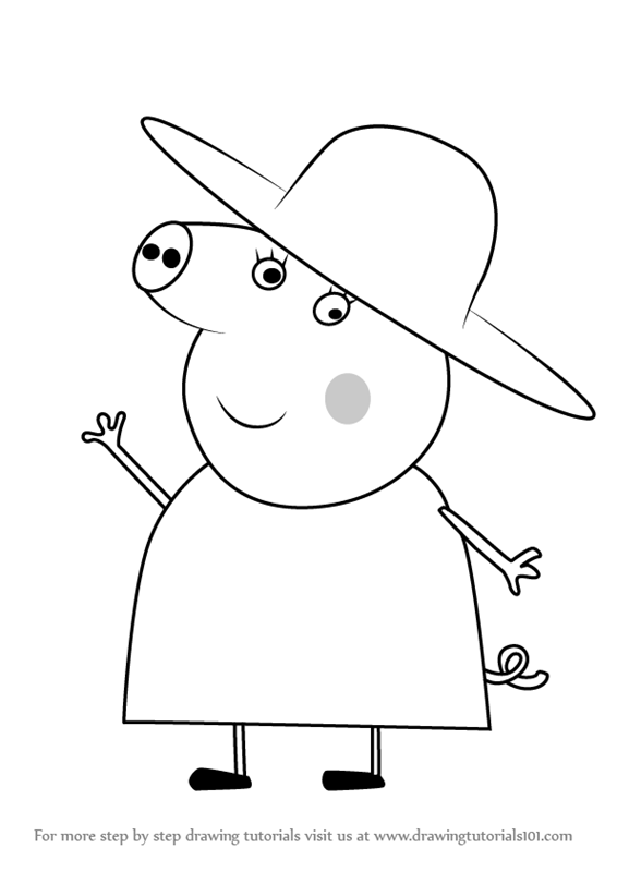 Learn How to Draw Granny Pig from Peppa Pig Peppa Pig Step by