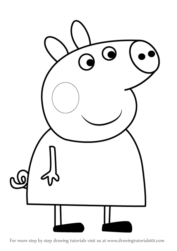 Learn How to Draw Lindsey Pig from Peppa Pig Peppa Pig Step by