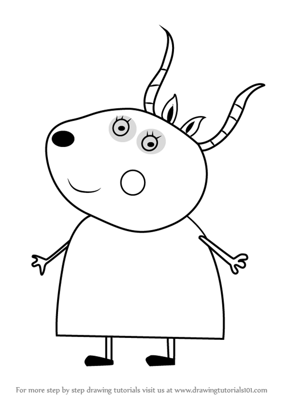 Step by step how to draw madame gazelle from peppa pig for Peppa pig drawing templates