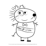 How to Draw Mayor Lion from Peppa Pig