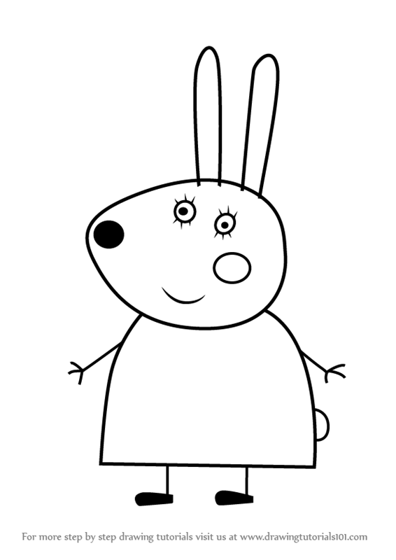 Learn How To Draw Miss Rabbit From Peppa Pig Step By Drawing Tutorials