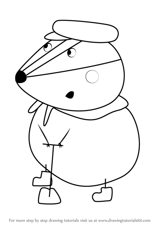 Learn How To Draw Mr Badger From Peppa Pig Step By Drawing Tutorials