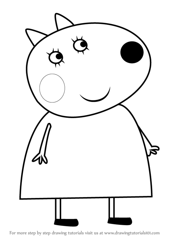 Learn How to Draw Mrs Dog from Peppa Pig Peppa Pig Step by Step