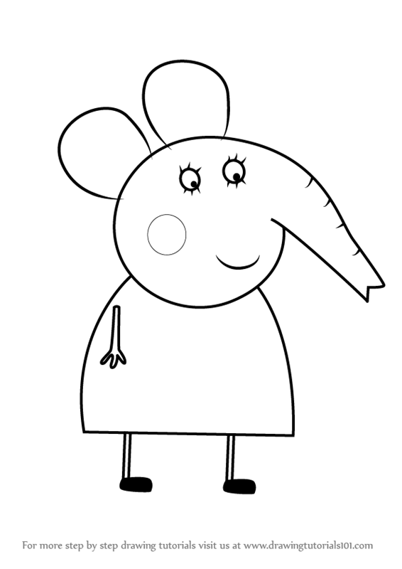Learn How To Draw Mrs Elephant From Peppa Pig Step By Drawing Tutorials
