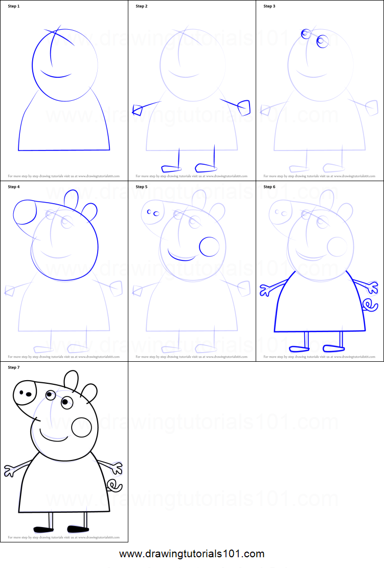 Step by step drawing tutorial on how to draw mummy pig from peppa pig