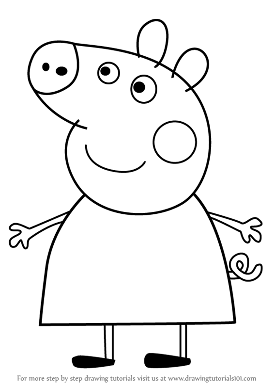 How to draw mummy pig from peppa pig