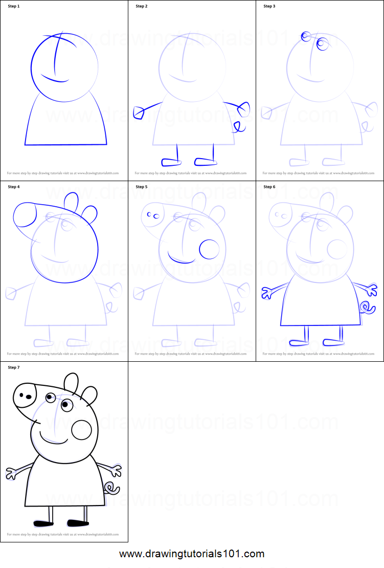 How To Draw Peppa Pig From Peppa Pig Printable Step By Step Drawing