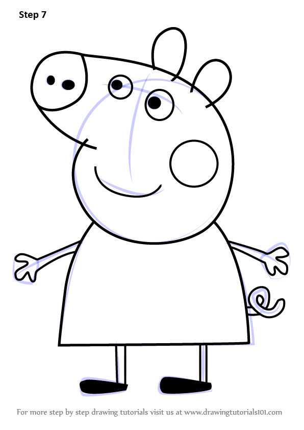 Learn how to draw peppa pig from peppa pig peppa pig for Peppa pig drawing templates