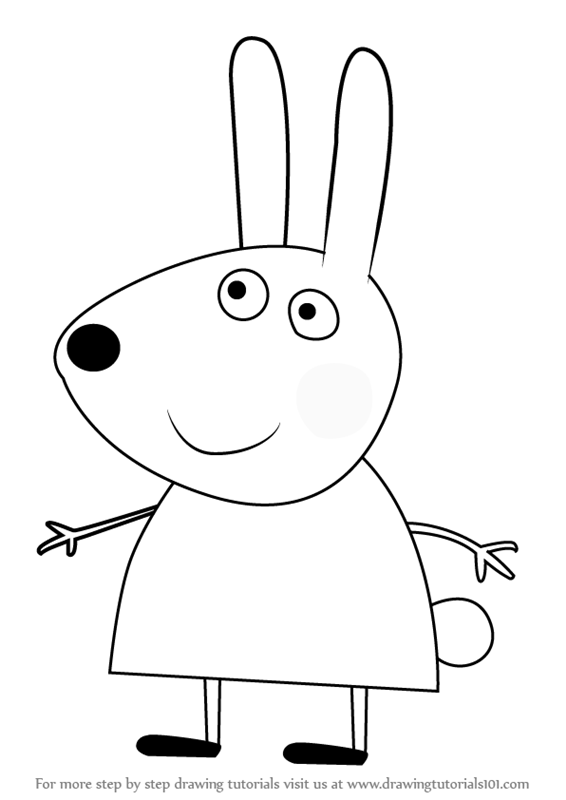 How to draw richard rabbit from peppa pig