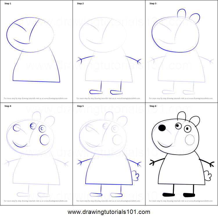 How To Draw Suzy Sheep From Peppa Pig Printable Step By Step Drawing