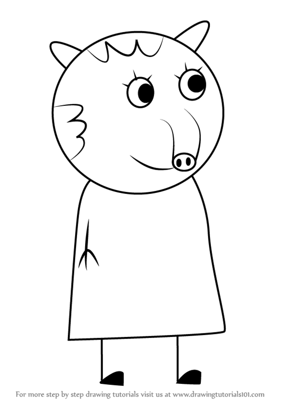 Step by step how to draw taylor tapir from peppa pig for Tapir coloring page