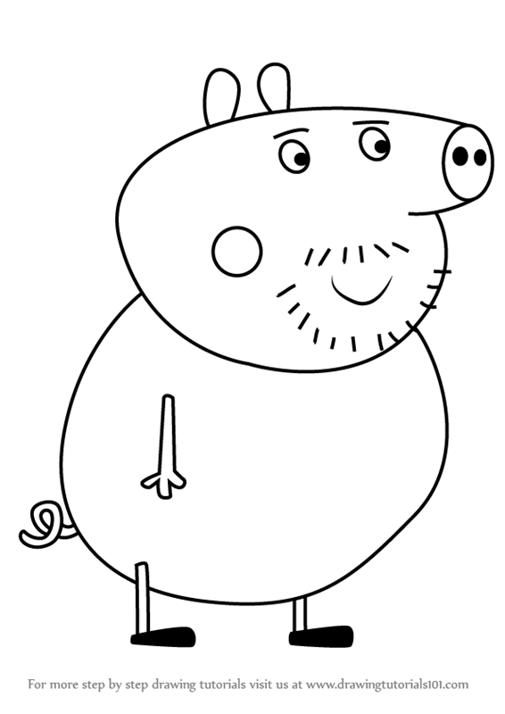 Learn How To Draw Uncle Pig From Peppa Step By Drawing Tutorials
