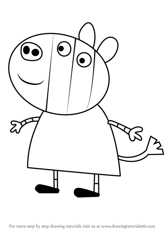 learn how to draw zuzu from peppa pig peppa pig step by