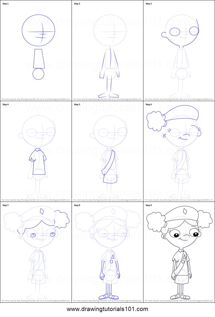 How to Draw Holly from Phineas and Ferb printable step by