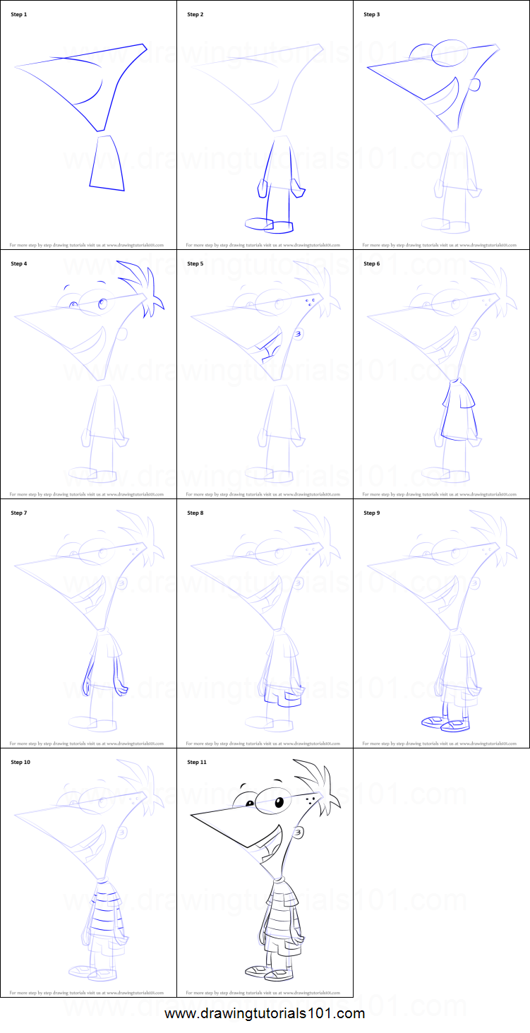 How to Draw Phineas Flynn from Phineas and Ferb printable