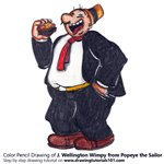 How to Draw J. Wellington Wimpy from Popeye the Sailor