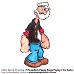 How to Draw Poopdeck Pappy from Popeye the Sailor