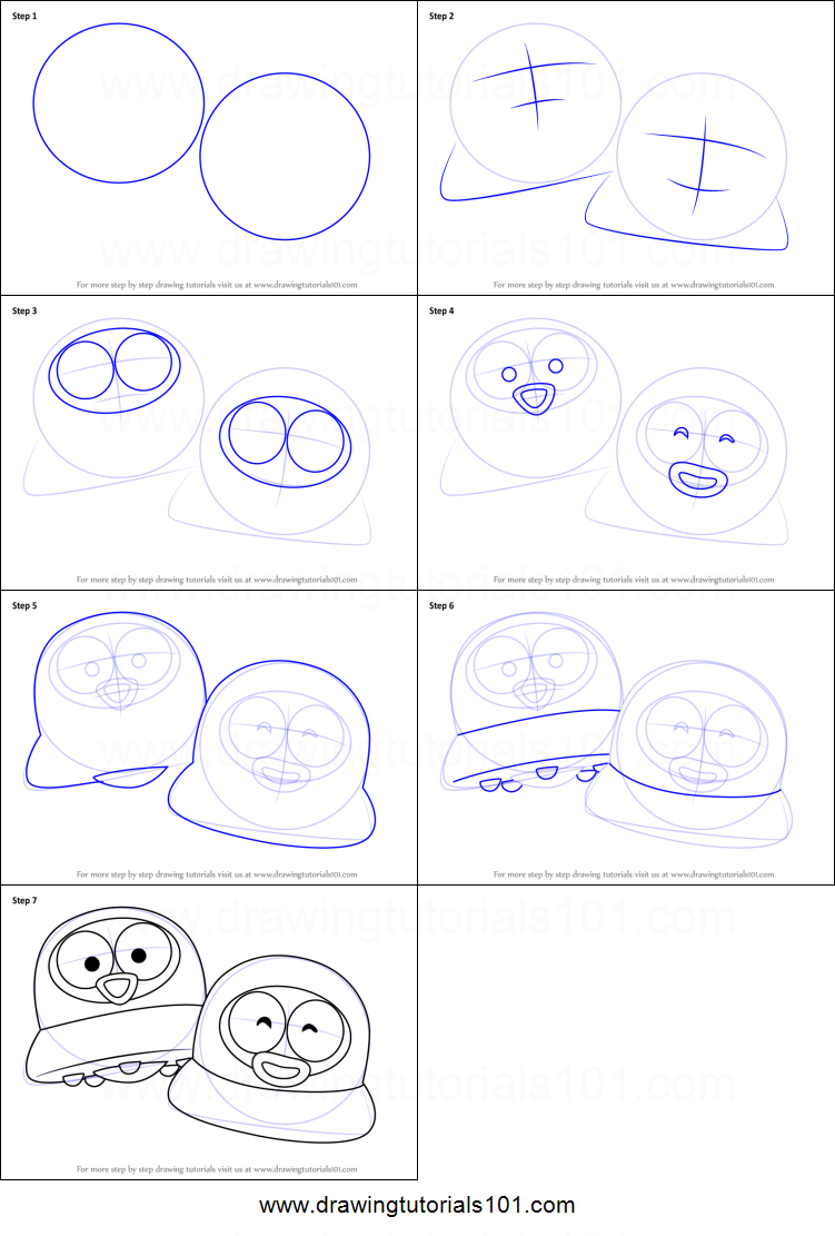 step by step drawing tutorial on how to draw popo and pipi from pororo the little  penguin