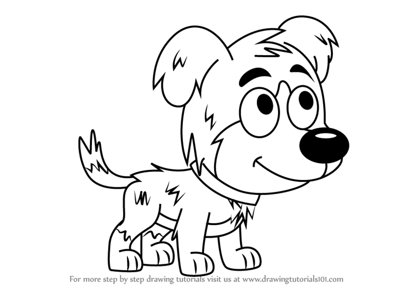 Step by step how to draw chief from pound puppies for Pound puppies coloring pages
