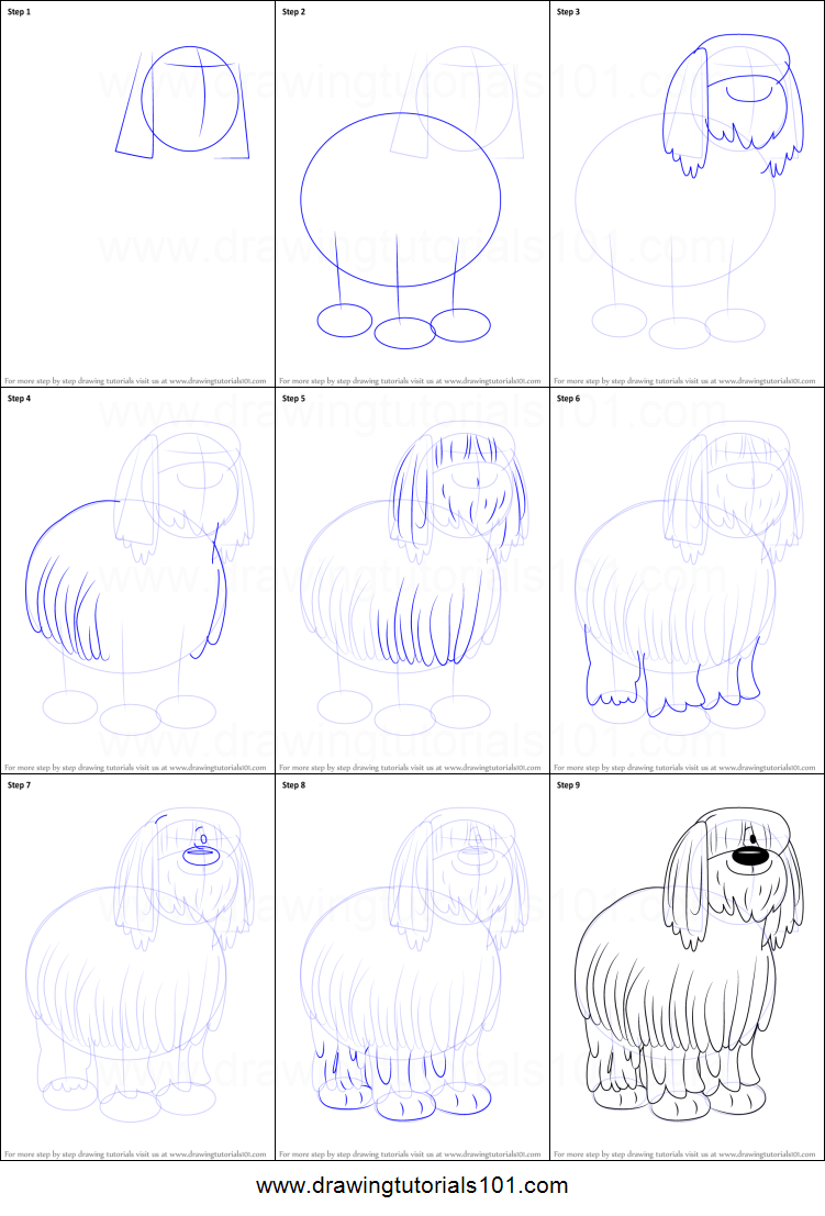How To Draw Niblet The Old English Sheepdog From Pound Puppies