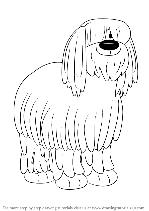 Learn How To Draw Niblet The Old English Sheepdog From