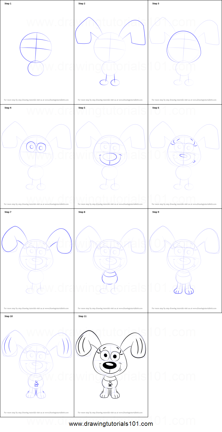 How to Draw Rebound from Pound Puppies printable step by step
