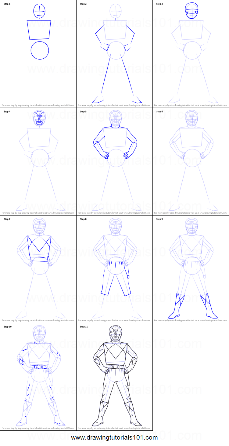 How to Draw Black Ranger from Power Rangers printable step by step