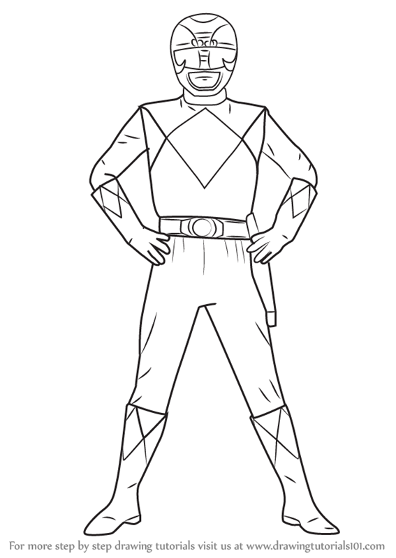 Step By Step How To Draw Black Ranger From Power Rangers